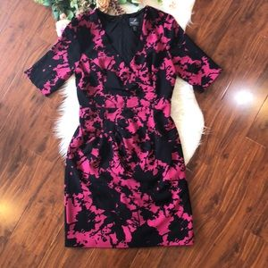 ADRIANNA PAPELL PINK & BLACK FLORAL PRINT DRESS